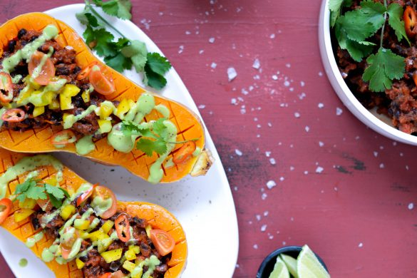 Butternutsquash taco med refried black beans