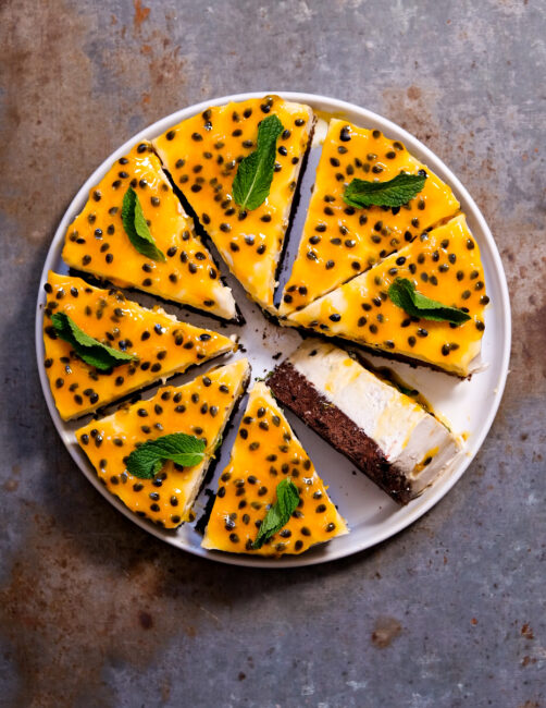 Vegansk passionsfrugt cheesecake